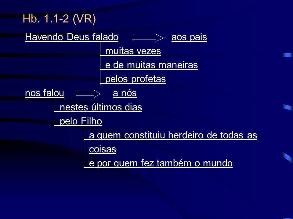 Hb. 1.1-2 (VR) Havendo Deus falado aos pais muitas vezes