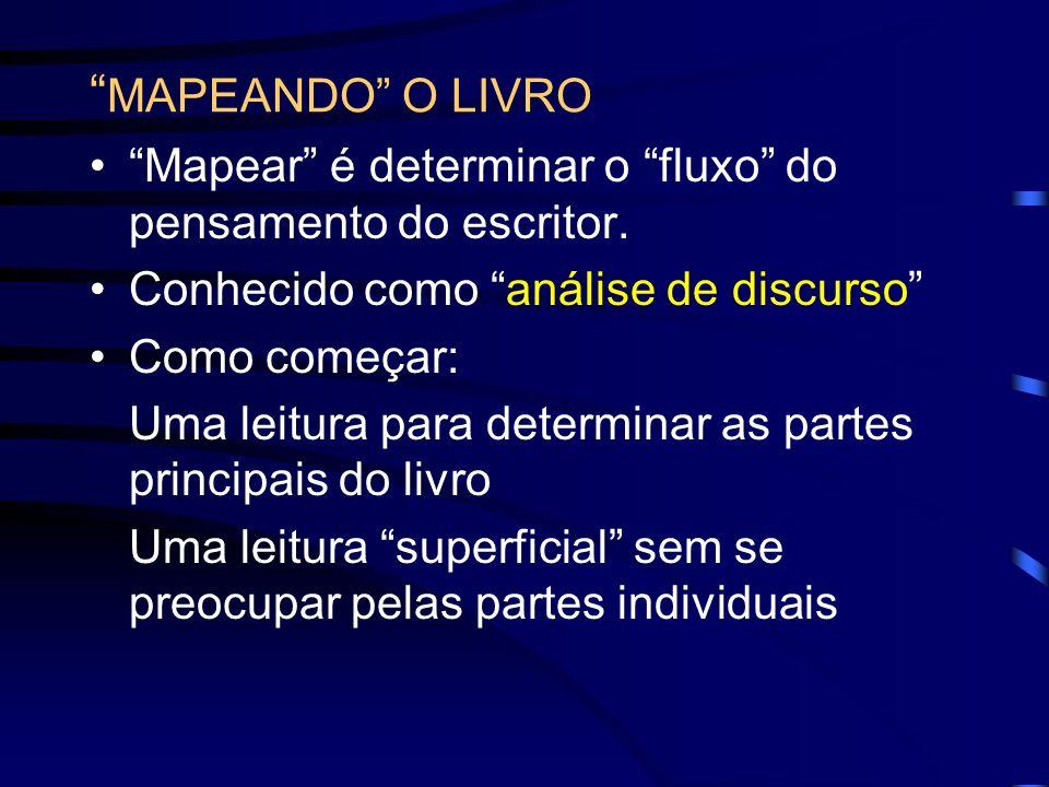 MAPEANDO O LIVRO Mapear é determinar o fluxo do pensamento do escritor. Conhecido como análise de discurso