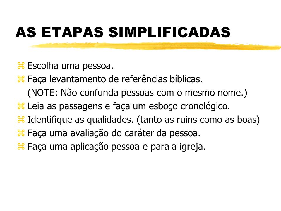 AS ETAPAS SIMPLIFICADAS