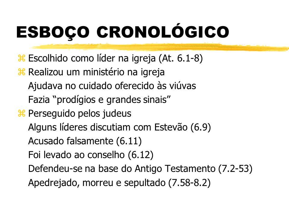 ESBOÇO CRONOLÓGICO Escolhido como líder na igreja (At. 6.1-8)