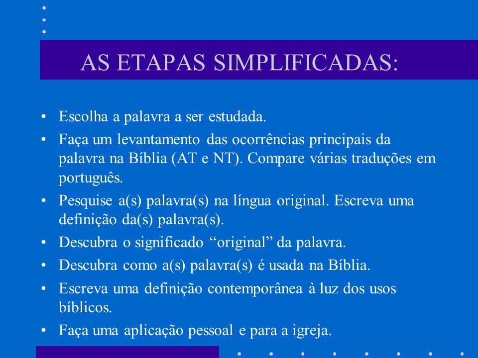 AS ETAPAS SIMPLIFICADAS: