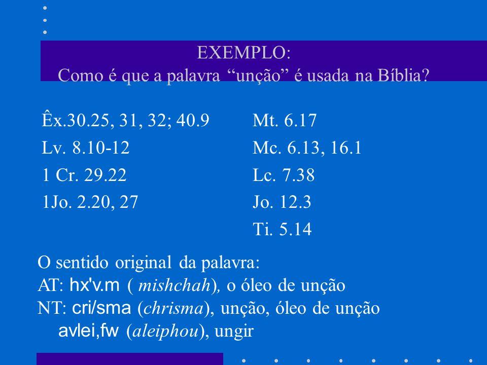 EXEMPLO: Como é que a palavra unção é usada na Bíblia