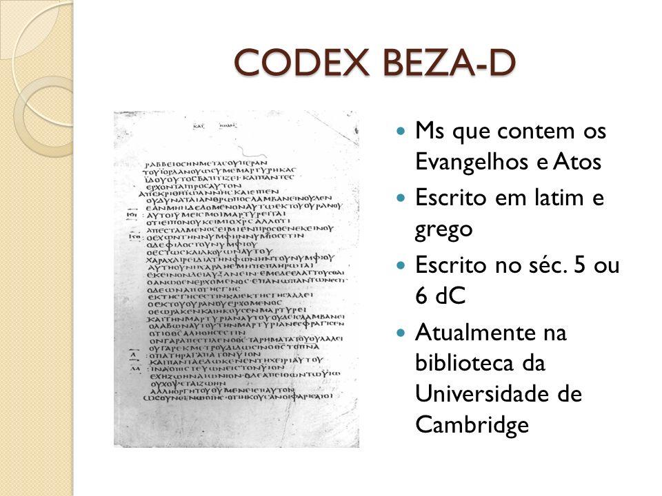 CODEX BEZA-D Ms que contem os Evangelhos e Atos