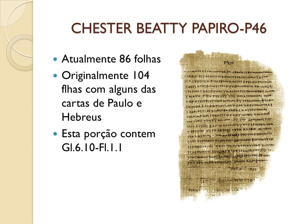 CHESTER BEATTY PAPIRO-P46
