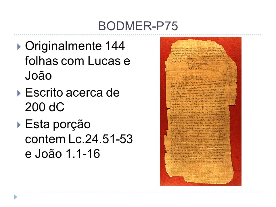 BODMER-P75 Originalmente 144 folhas com Lucas e João.