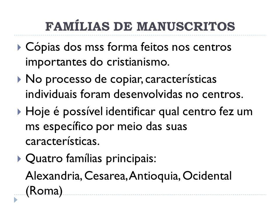 FAMÍLIAS DE MANUSCRITOS