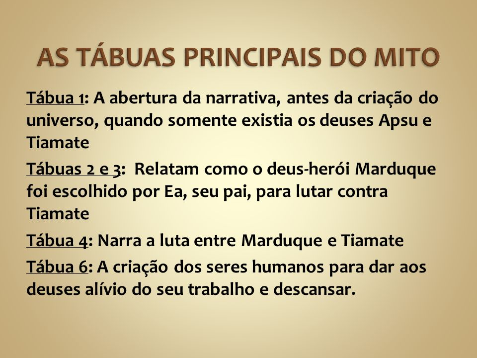 AS TÁBUAS PRINCIPAIS DO MITO