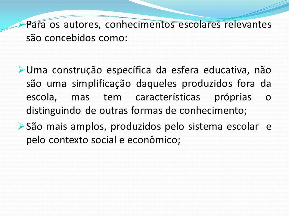 Para os autores, conhecimentos escolares relevantes são concebidos como: