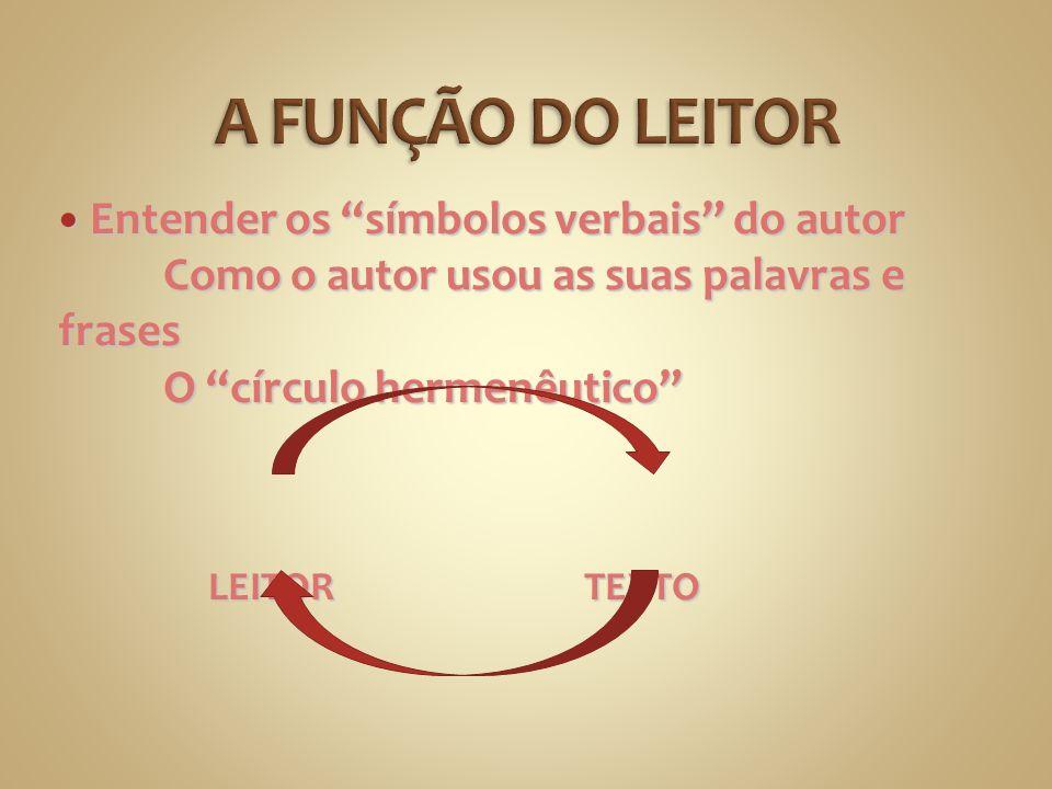 A FUNÇÃO DO LEITOR Entender os símbolos verbais do autor