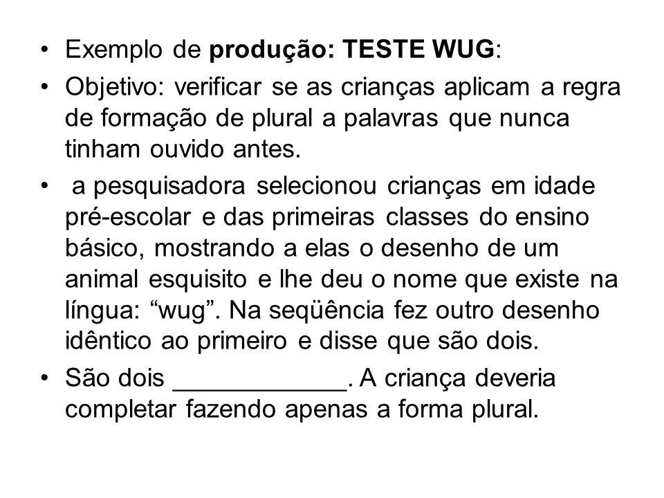 Exemplo de produção: TESTE WUG: