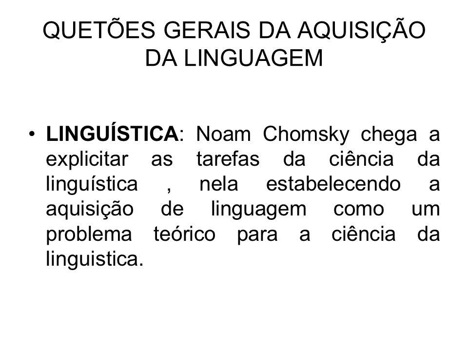 QUETÕES GERAIS DA AQUISIÇÃO DA LINGUAGEM
