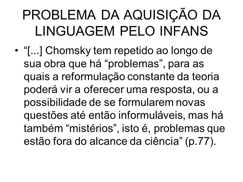 PROBLEMA DA AQUISIÇÃO DA LINGUAGEM PELO INFANS