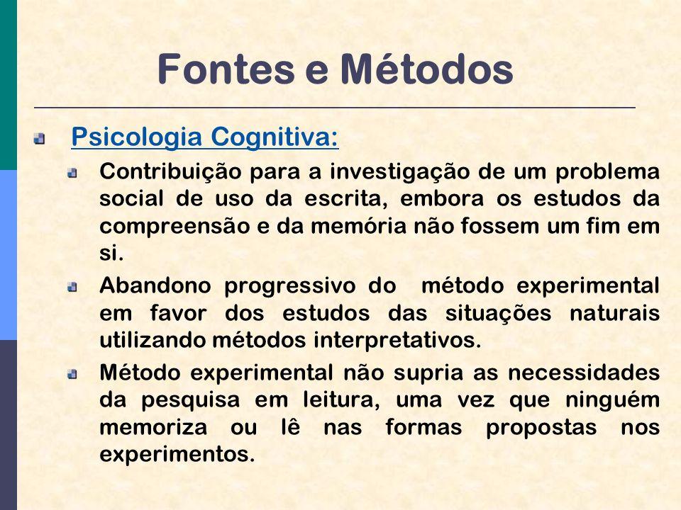 Fontes e Métodos Psicologia Cognitiva:
