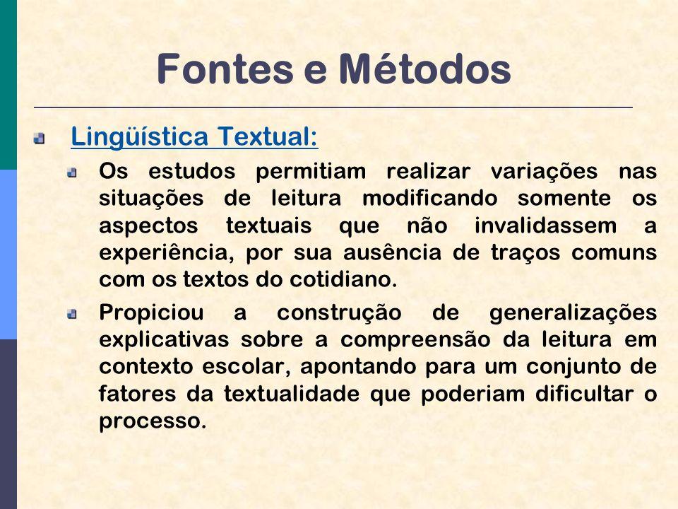 Fontes e Métodos Lingüística Textual: