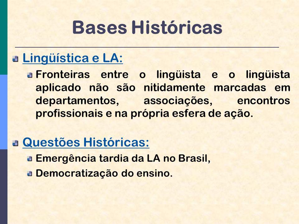 Bases Históricas Lingüística e LA: Questões Históricas: