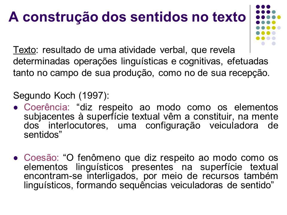 A construção dos sentidos no texto