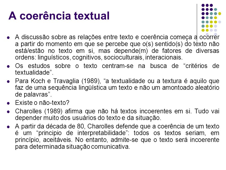 A coerência textual