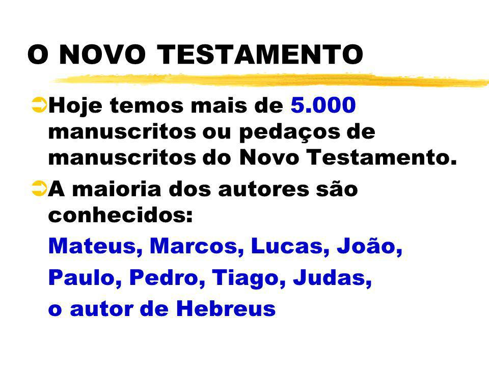 O NOVO TESTAMENTO Hoje temos mais de 5.000 manuscritos ou pedaços de manuscritos do Novo Testamento.