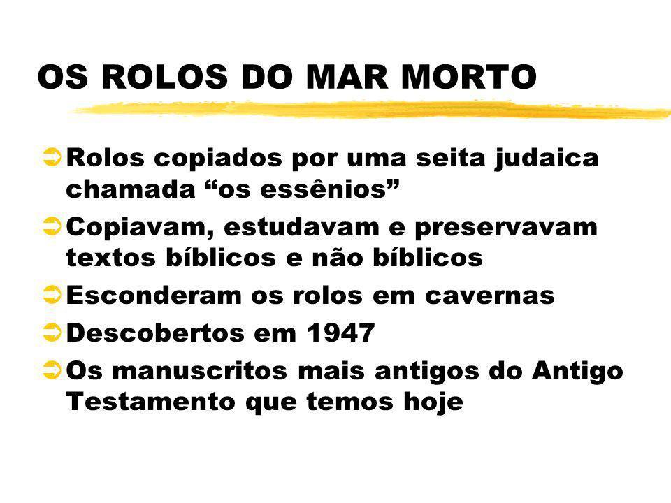 OS ROLOS DO MAR MORTO Rolos copiados por uma seita judaica chamada os essênios Copiavam, estudavam e preservavam textos bíblicos e não bíblicos.