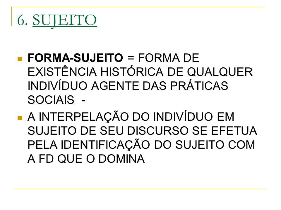 6. SUJEITO FORMA-SUJEITO = FORMA DE EXISTÊNCIA HISTÓRICA DE QUALQUER INDIVÍDUO AGENTE DAS PRÁTICAS SOCIAIS -