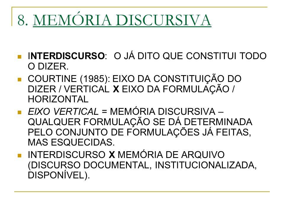 8. MEMÓRIA DISCURSIVA INTERDISCURSO: O JÁ DITO QUE CONSTITUI TODO O DIZER.