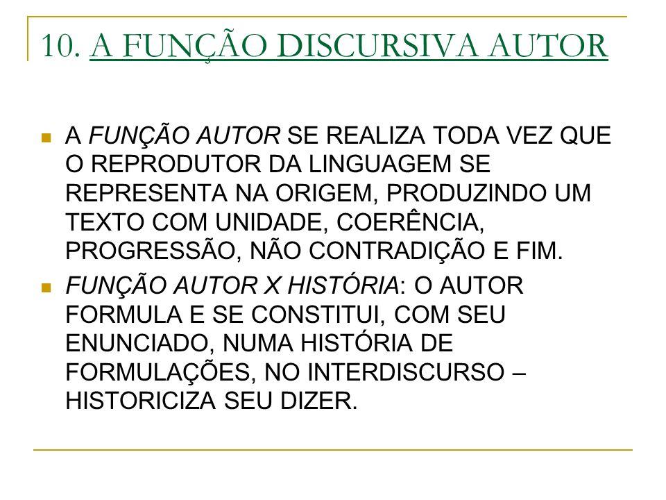 10. A FUNÇÃO DISCURSIVA AUTOR