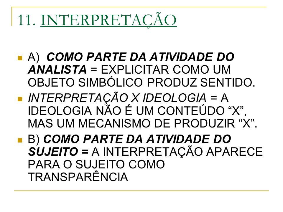 11. INTERPRETAÇÃO A) COMO PARTE DA ATIVIDADE DO ANALISTA = EXPLICITAR COMO UM OBJETO SIMBÓLICO PRODUZ SENTIDO.