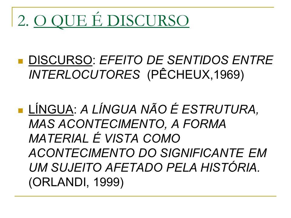 2. O QUE É DISCURSO DISCURSO: EFEITO DE SENTIDOS ENTRE INTERLOCUTORES (PÊCHEUX,1969)