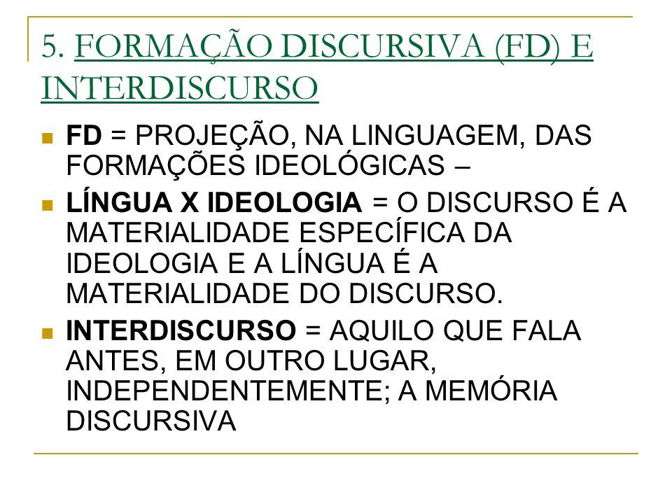 5. FORMAÇÃO DISCURSIVA (FD) E INTERDISCURSO