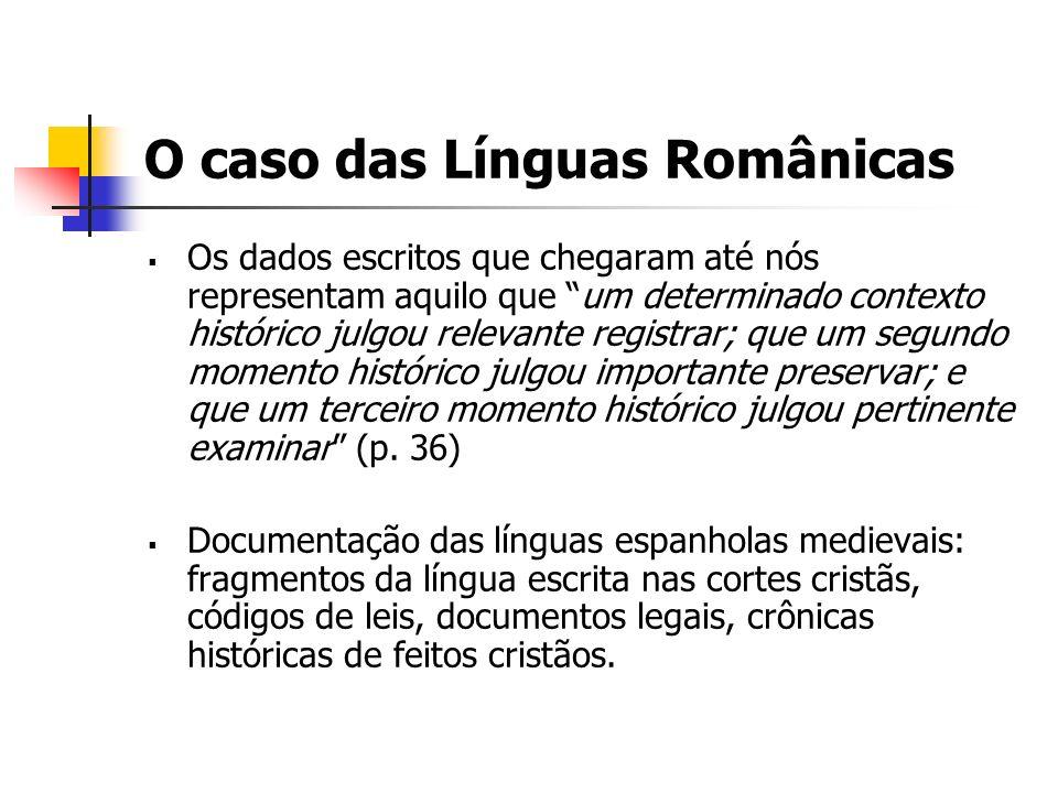 O caso das Línguas Românicas
