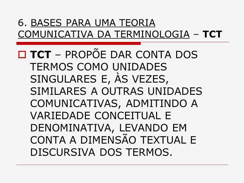 6. BASES PARA UMA TEORIA COMUNICATIVA DA TERMINOLOGIA – TCT