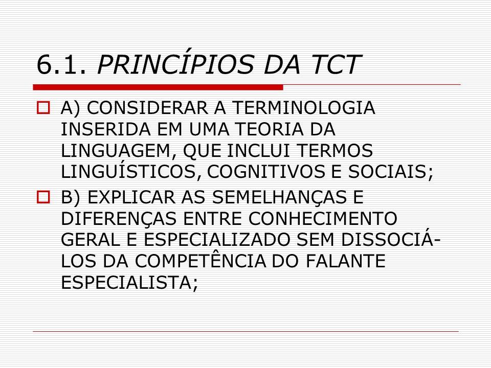 6.1. PRINCÍPIOS DA TCT A) CONSIDERAR A TERMINOLOGIA INSERIDA EM UMA TEORIA DA LINGUAGEM, QUE INCLUI TERMOS LINGUÍSTICOS, COGNITIVOS E SOCIAIS;