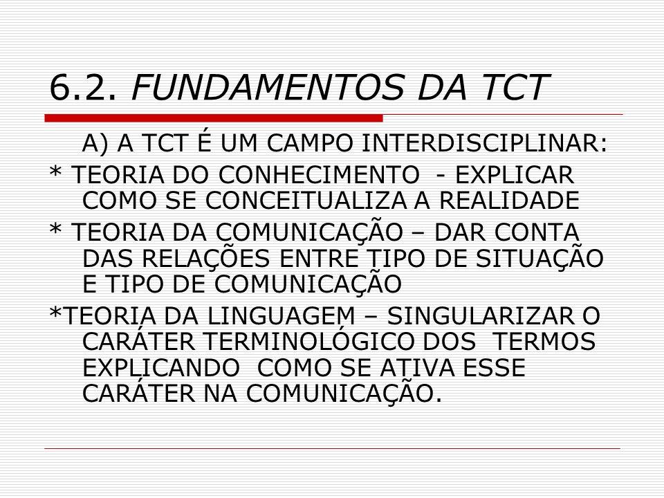 6.2. FUNDAMENTOS DA TCT A) A TCT É UM CAMPO INTERDISCIPLINAR:
