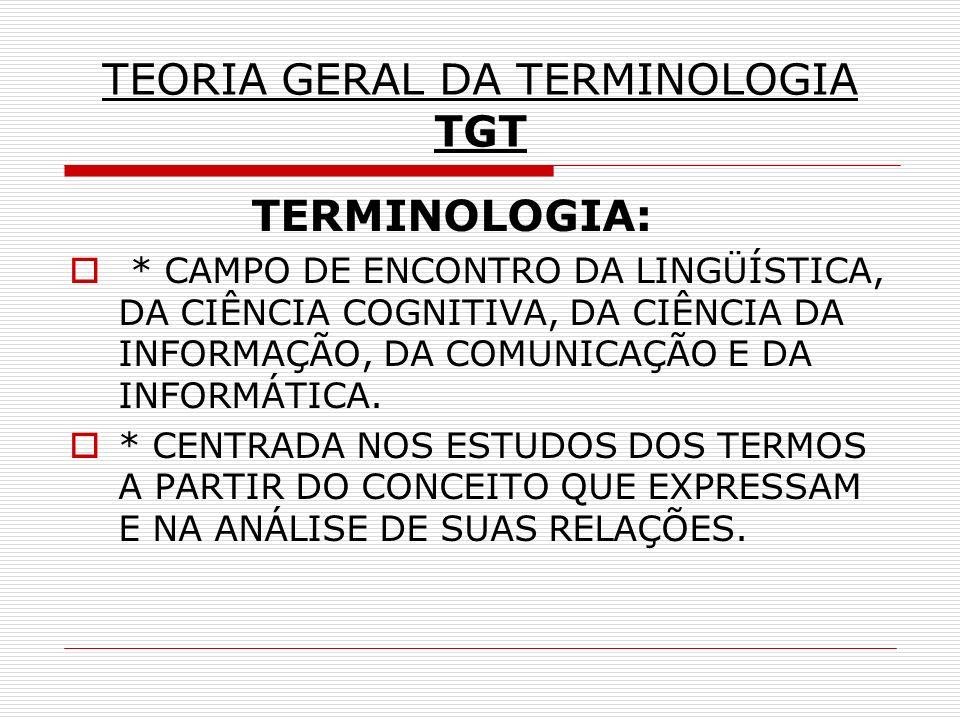 TEORIA GERAL DA TERMINOLOGIA TGT