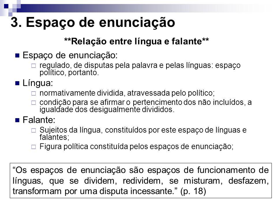 **Relação entre língua e falante**