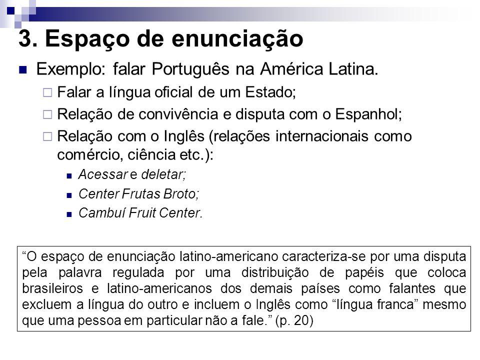 3. Espaço de enunciação Exemplo: falar Português na América Latina.