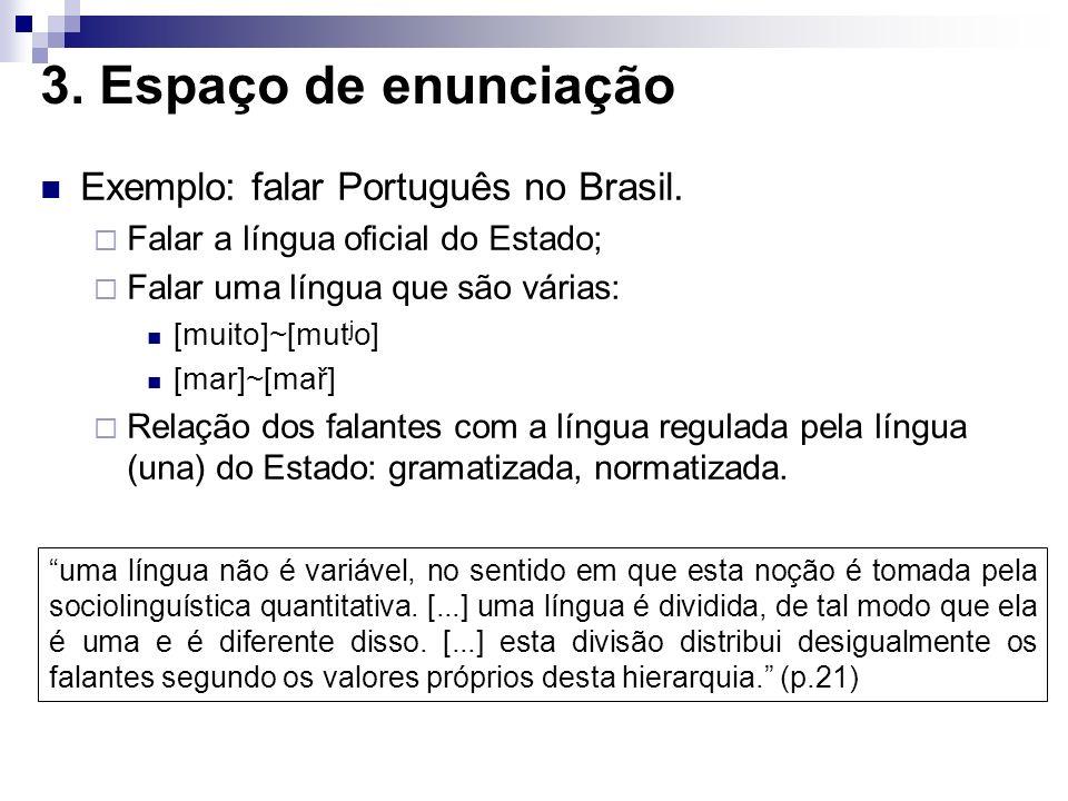 3. Espaço de enunciação Exemplo: falar Português no Brasil.