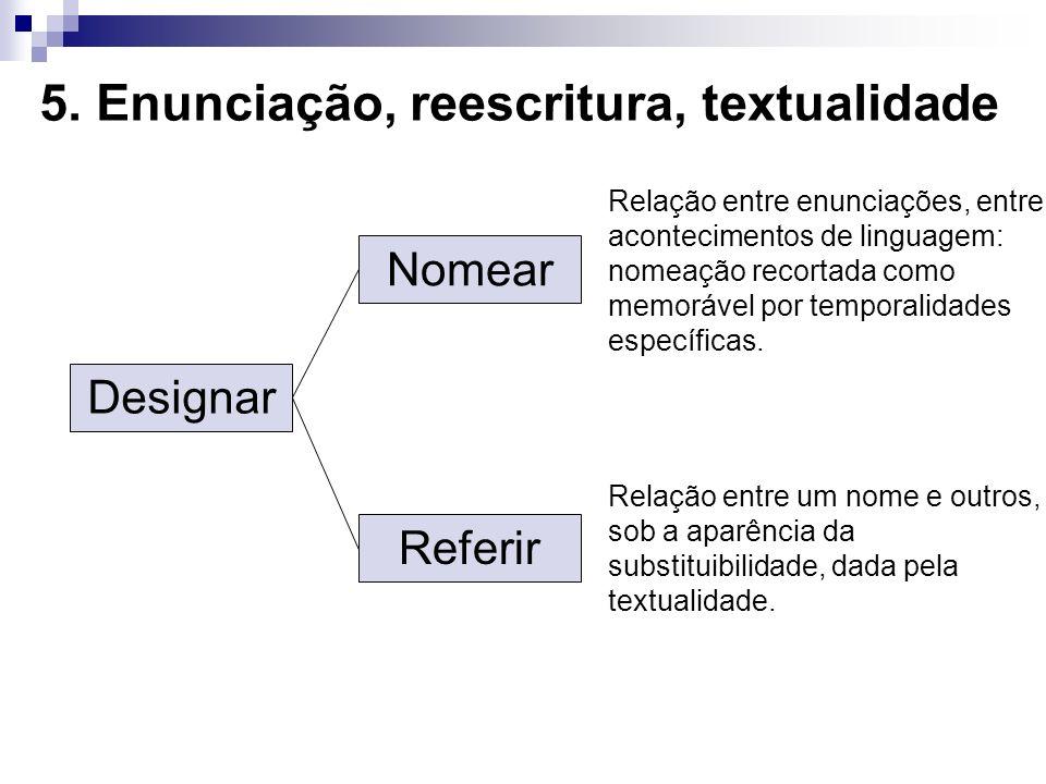 5. Enunciação, reescritura, textualidade