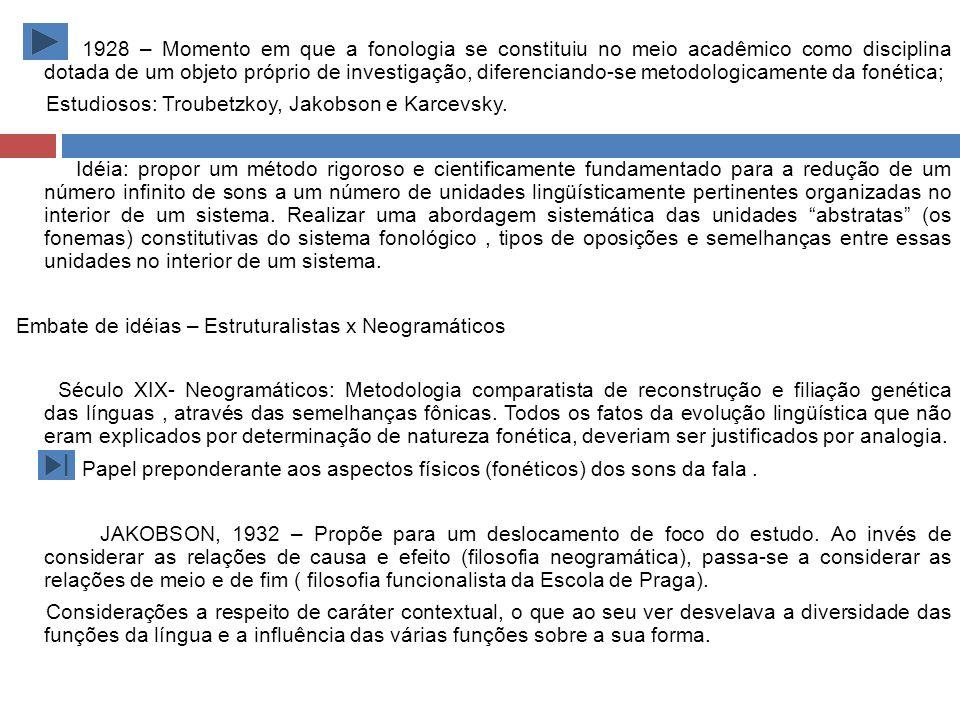 1928 – Momento em que a fonologia se constituiu no meio acadêmico como disciplina dotada de um objeto próprio de investigação, diferenciando-se metodologicamente da fonética; Estudiosos: Troubetzkoy, Jakobson e Karcevsky.