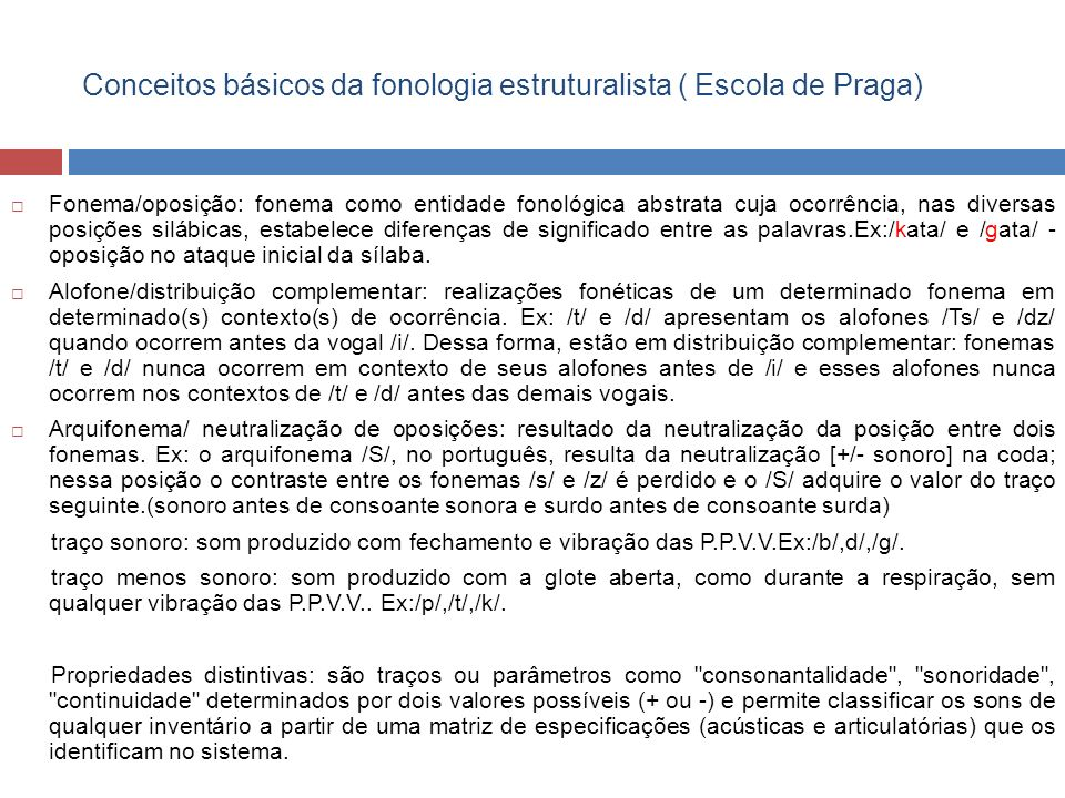 Conceitos básicos da fonologia estruturalista ( Escola de Praga)