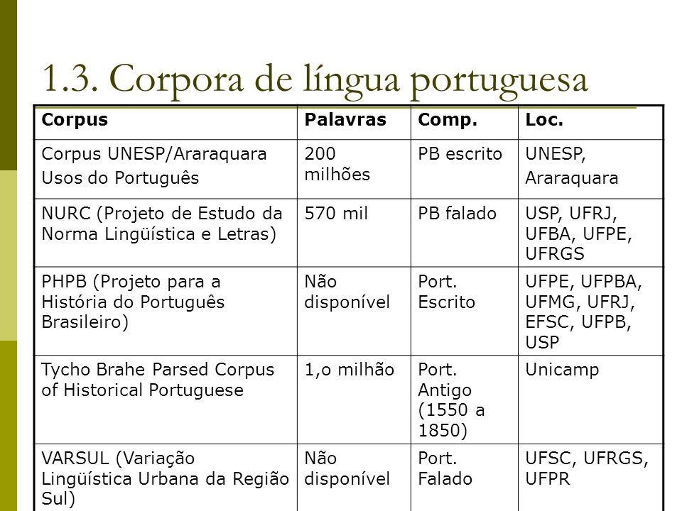 1.3. Corpora de língua portuguesa