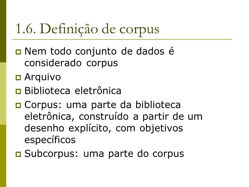 1.6. Definição de corpus Nem todo conjunto de dados é considerado corpus. Arquivo. Biblioteca eletrônica.