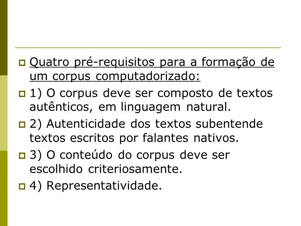 Quatro pré-requisitos para a formação de um corpus computadorizado: