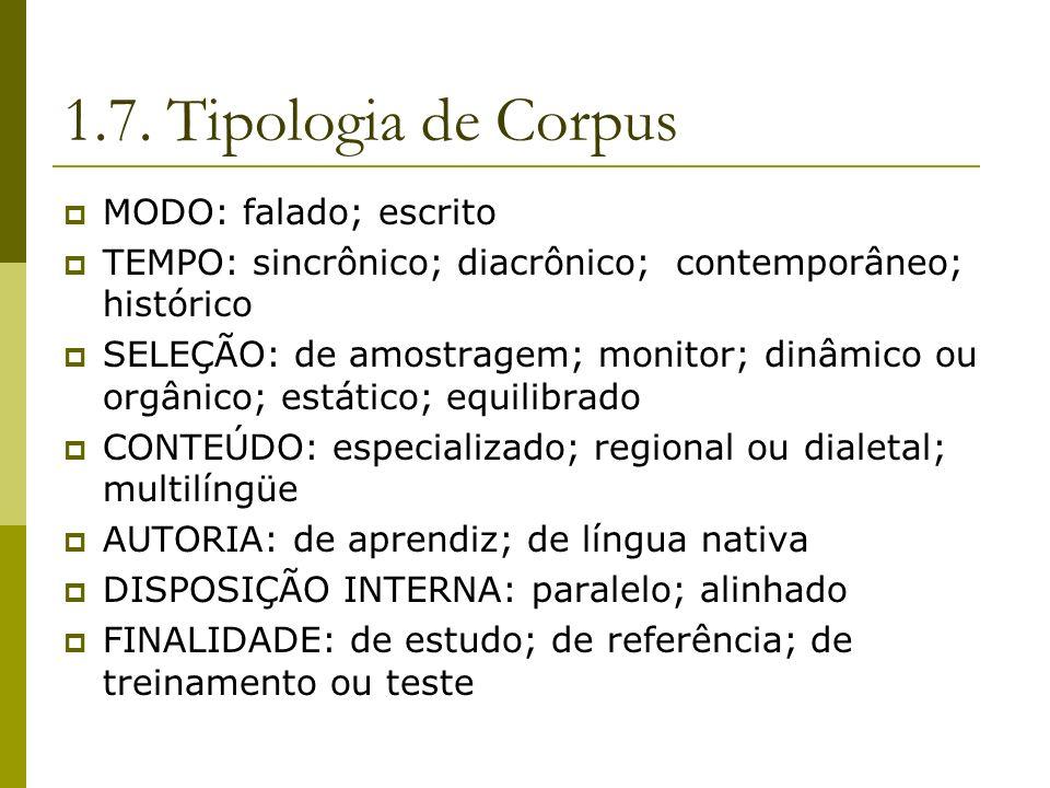 1.7. Tipologia de Corpus MODO: falado; escrito
