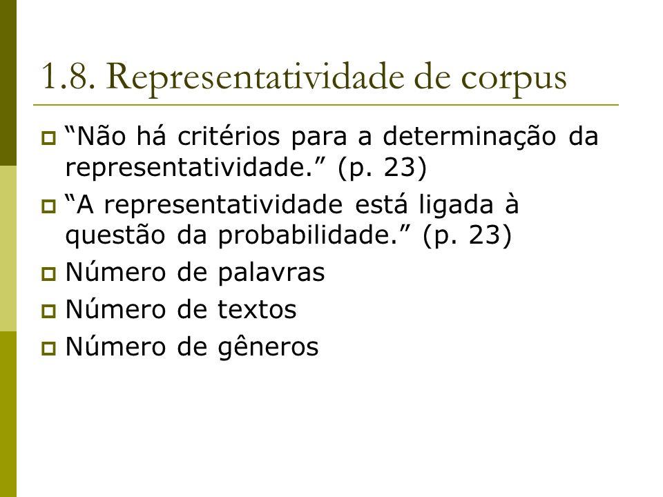 1.8. Representatividade de corpus