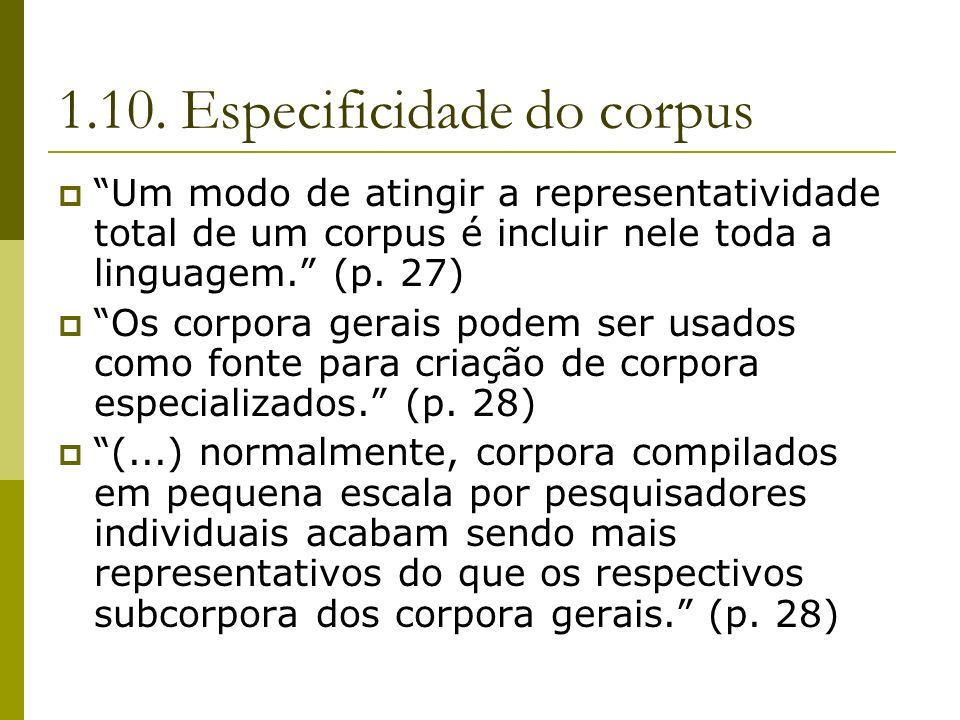 1.10. Especificidade do corpus