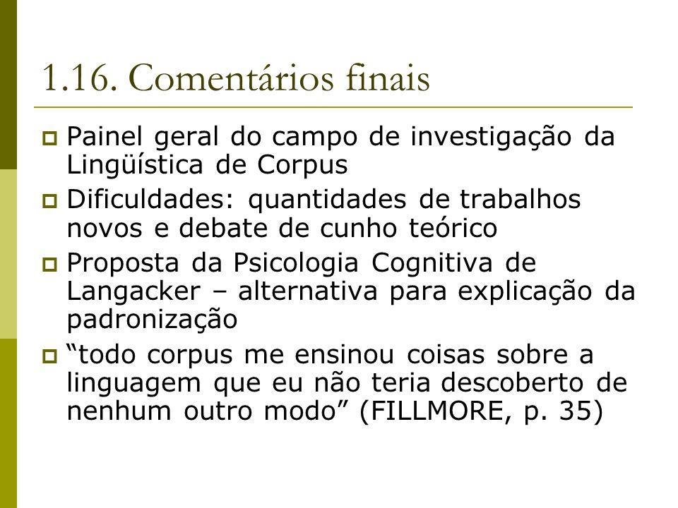 1.16. Comentários finais Painel geral do campo de investigação da Lingüística de Corpus.