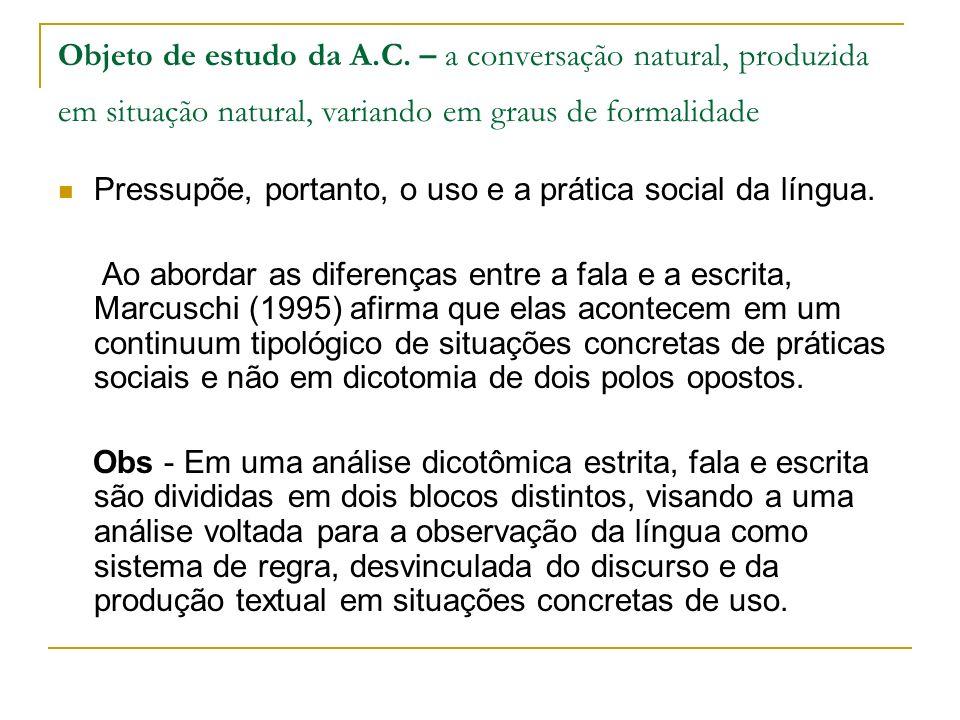 Objeto de estudo da A.C. – a conversação natural, produzida em situação natural, variando em graus de formalidade