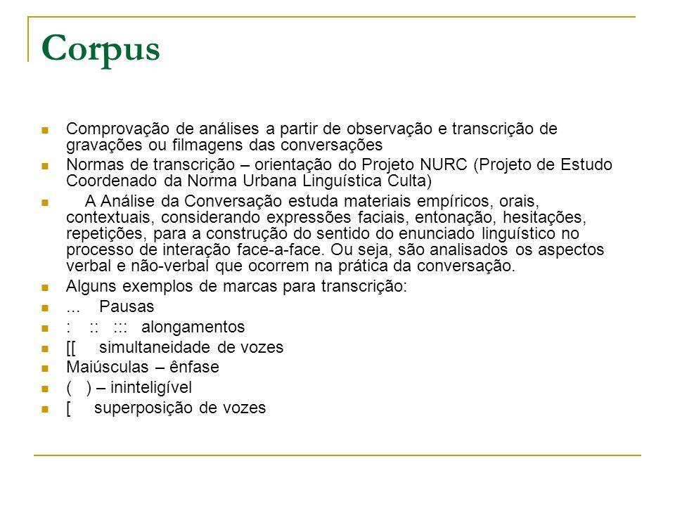 Corpus Comprovação de análises a partir de observação e transcrição de gravações ou filmagens das conversações.