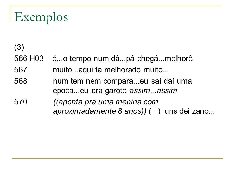 Exemplos (3) 566 H03 é...o tempo num dá...pá chegá...melhorô